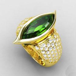 "Feinheit Goldschmiede - ""Green Navette"" Ring"