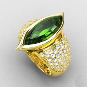 """""""Green Navette"""" Ring"""