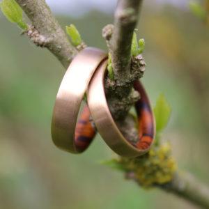 Feinheit Goldschmiede Growing Love Eheringe, Eheringe aus 14kt Mittelgold in Kombination mit Wüsteneisenholz und mit seidenmatter Oberfläche