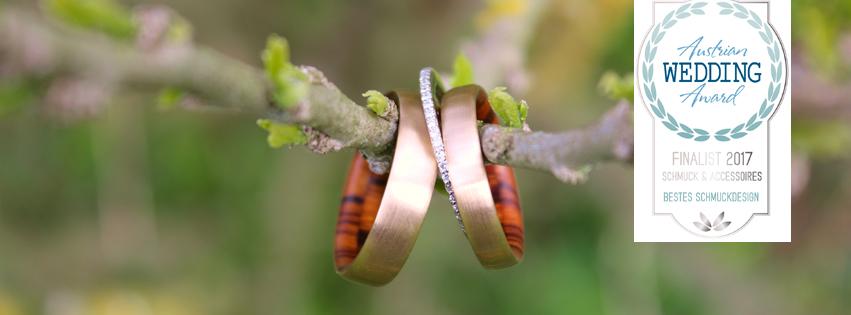 Feinheit Goldschmiede Eheringe mit Holz Austrian Wedding Award